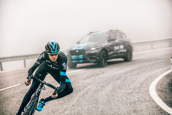 Jaguar F-PACE Team Sky Chris Froome action