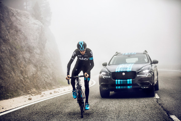 Jaguar F-PACE Team Sky Chris Froome action2