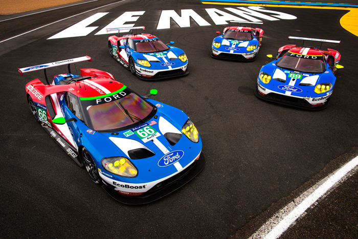 The four Ford GTs at Le-Mans header